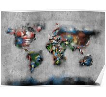 world map flags 4 Poster