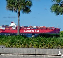 Cargo Ship in Charleston Harbour by TJ Baccari Photography