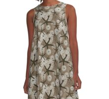 Starfish, Sea Urchins, and Sand Dollars in Brown and White Tones A-Line Dress