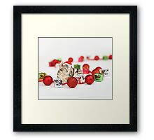 Cat wearing red Santa hat Christmas Ornament  Framed Print