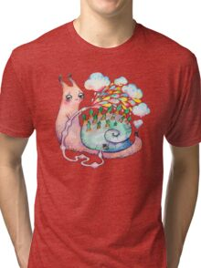 Rainbow snail watering the garden Tri-blend T-Shirt