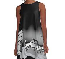 Retro Zombie Garage  A-Line Dress