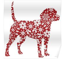 Christmas Boho Red Beagle Poster