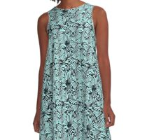 Teal Waves on Black A-Line Dress