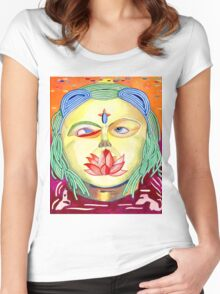 Golden psychedelic god Women's Fitted Scoop T-Shirt