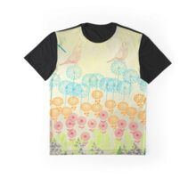 Flowers and Dragonflies Graphic T-Shirt