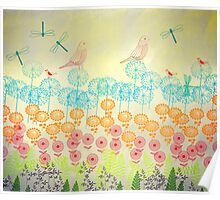 Flowers and Dragonflies Poster