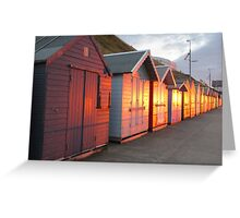 Sunlight Illuminating Beach Huts Greeting Card