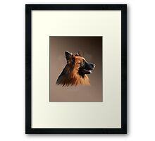 German Shepherd Dog Watercolor art Portrait Painting Framed Print