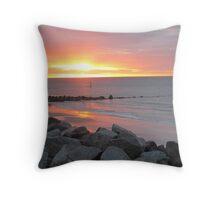 Sunset Over Norfolk Beach Throw Pillow