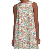 Fantasy Floral Pattern in Bright Pinks, Blues & Greens on White A-Line Dress