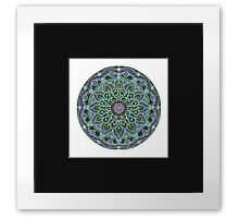 Hand Drawn Pink Purple Mandala  on Dark Framed Print
