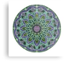 Hand Drawn Pink Purple Mandala  on Dark Metal Print