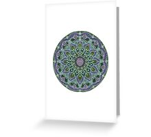 Hand Drawn Pink Purple Mandala  on Dark Greeting Card