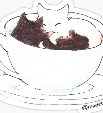 Coffee & Cream Cuddles - Cat Sticker Sticker