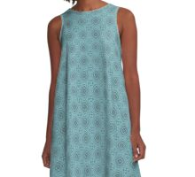 Blue and Teal Gray Square Diamond Pattern A-Line Dress