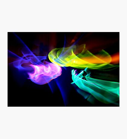 Abstract neon light trails Photographic Print