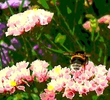 Bumble Bee in a Flower Garden by LastLittleBird
