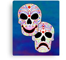 Comedy-Tragedy Colorful Sugar Skulls Canvas Print