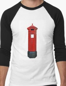 Big Red Victorian Mail Box, London, Royal Mail Men's Baseball ¾ T-Shirt