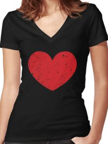 Red Heart Women's Fitted V-Neck T-Shirt