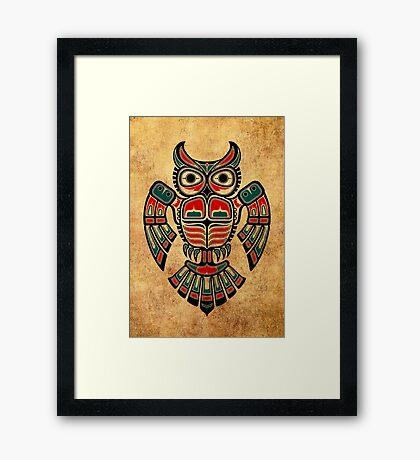 Red and Teal Blue Haida Spirit Owl Framed Print