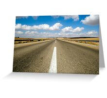 Australian, western New South Wales, Endless road to nowhere running into the horizon blue sky with clouds  Greeting Card