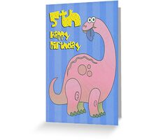 Happy Fifth Birthday Pink Dinosaur  Greeting Card