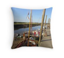 Boats at Harbour Throw Pillow