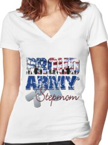 Proud Army StepMom Women's Fitted V-Neck T-Shirt