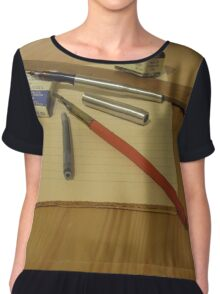 Pens And Paper Chiffon Top