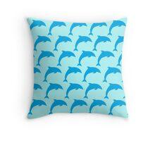Dolphin Jumping Pattern Throw Pillow