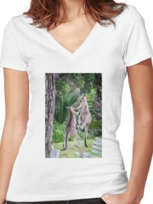 Male Kangaroos Fighting Women's Fitted V-Neck T-Shirt