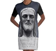 Corcovado Rio Brazil Statue Graphic T-Shirt Dress