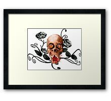 Creepy skull and roses Framed Print