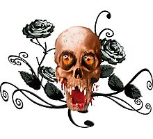 Creepy skull and roses Photographic Print