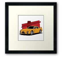 Mazda RX-7 (FD) (orange) Framed Print