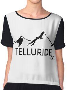 TELLURIDE COLORADO Ski Skiing Mountain Mountains Skiing Skis Silhouette Snowboard Snowboarding Chiffon Top