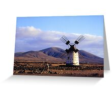 Windmill in a Barren Landscape Greeting Card