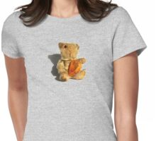 Tiny, Scruffy, VintageTeddy holding a Heart Womens Fitted T-Shirt