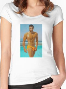 Swimmer in the tropics Women's Fitted Scoop T-Shirt