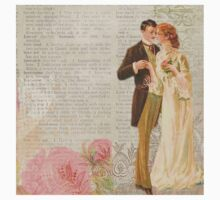 Victorian loving couple,newspaper,old,shabby chic,collage,flowers Kids Tee