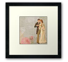 Victorian loving couple,newspaper,old,shabby chic,collage,flowers Framed Print