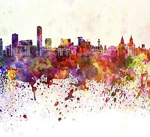 Liverpool skyline in watercolor background by paulrommer