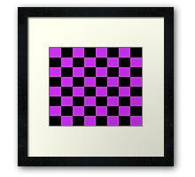 Checkered Purple and Black Check Framed Print