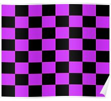 Checkered Purple and Black Check Poster