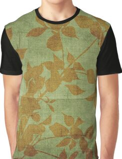 navy green,burlap,brown,flowers,rustic,grunge,old,nature,vintage Graphic T-Shirt