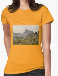 """Misty Cape Mountains and """"The Watcher"""" Womens Fitted T-Shirt"""