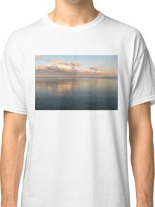 Sailing at Sunset - Little Pink Yacht at the Horizon Classic T-Shirt