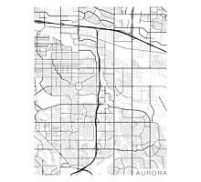 Aurora Map, USA - Black and White Photographic Print